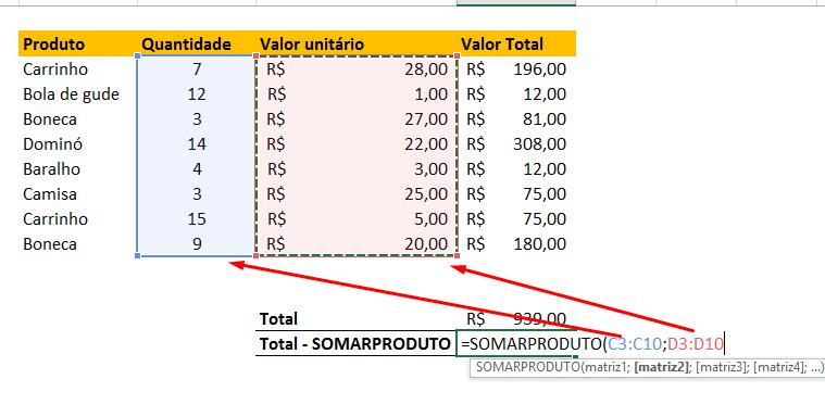 Somandoprodutos para função SomarProduto no Excel