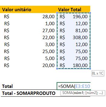 Somar total para função SomarProduto no Excel