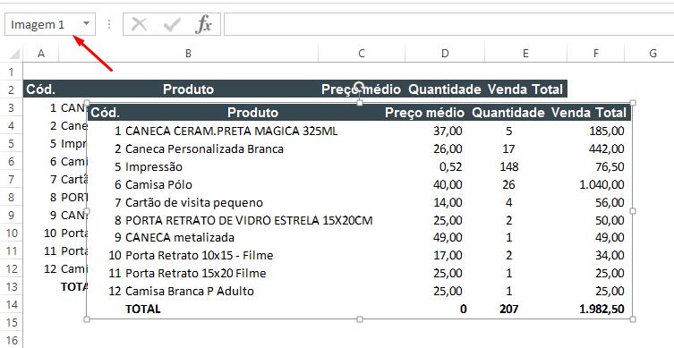 Testando imagem para salvar planilhas de Excel como imagem