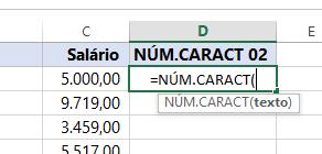 abrindo Função NÚM.CARACT para números