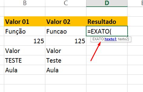 Abrindo a Função exato no Excel
