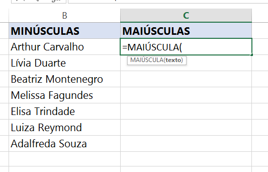 Abrindo função para transformar Letras minúsculas em maiúsculas no Excel