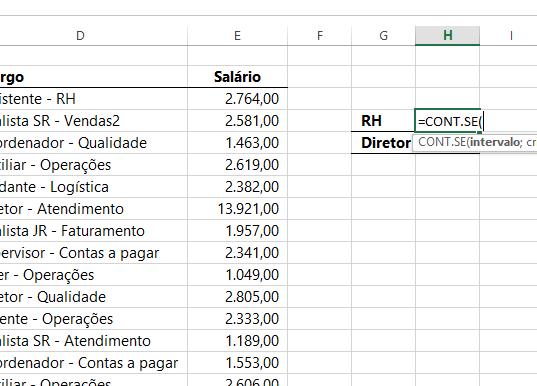 Abrindo funcao CONTE.SE em Caracteres Curinga no Excel