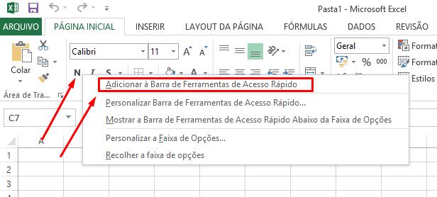 Adicionar a Barra de Acesso Rápido no Excel
