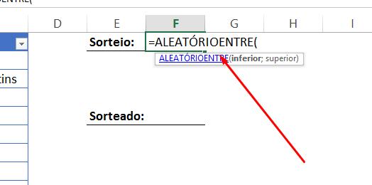 Aleatorioentre para Sorteio no Excel