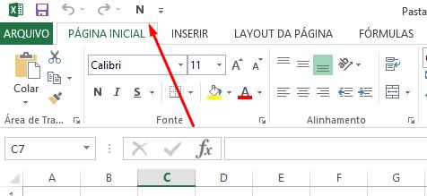Botão negrito na Barra de Acesso Rápido no Excel