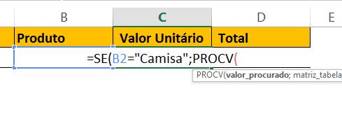 Chamando procv de camisa para PROCV com SE no excel