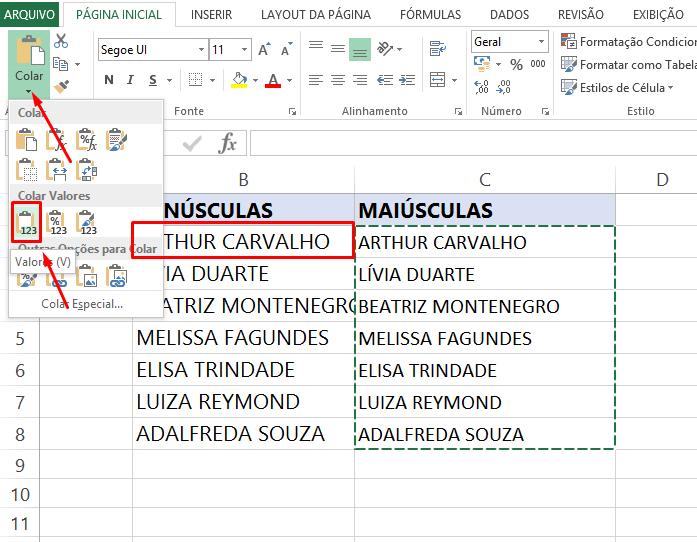 Colando valores para transformar Letras minúsculas em maiúsculas no Excel
