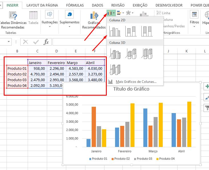 Coluna d2 Gráfico do Excel no PowerPoint