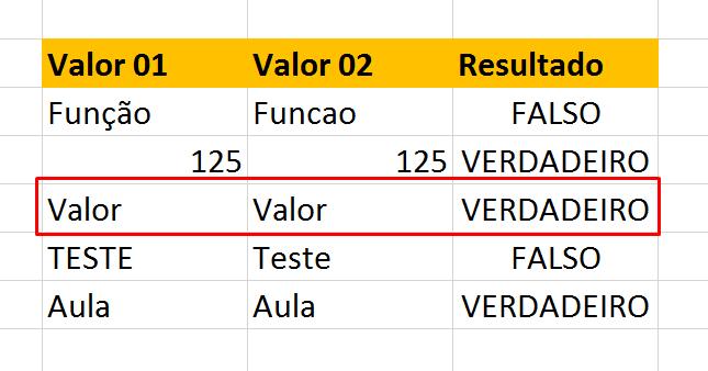 Correção de valor para Função exato no Excel