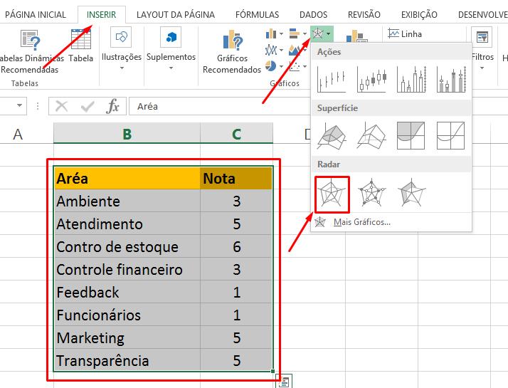 Criando gráfico de radar no Excel