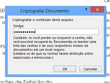 Criptografando senha em arquivos do Excel