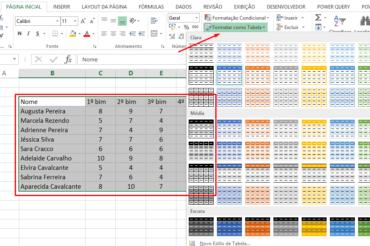 Escolhendo opção para formatar planilha como Tabela no Excel