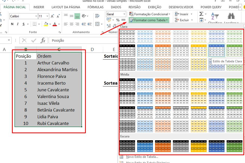 Formatando como tabela para Sorteio no Excel