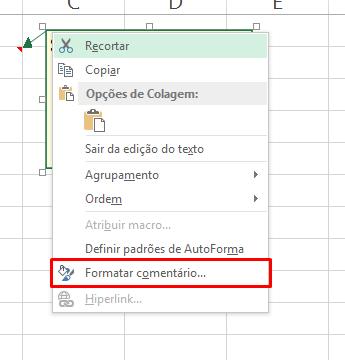 Formatar comentário em imagem em um Comentário no Excel