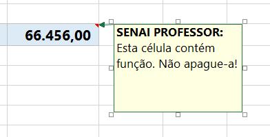 Frase para comentário no Excel