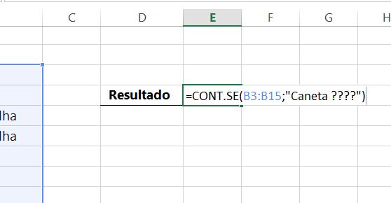 Inserindo critériois na Caracteres Curinga no Excel interrgação