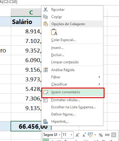 Inserir comentário no Excel