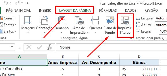 Laytou da página para Fixar cabeçalho no Excel