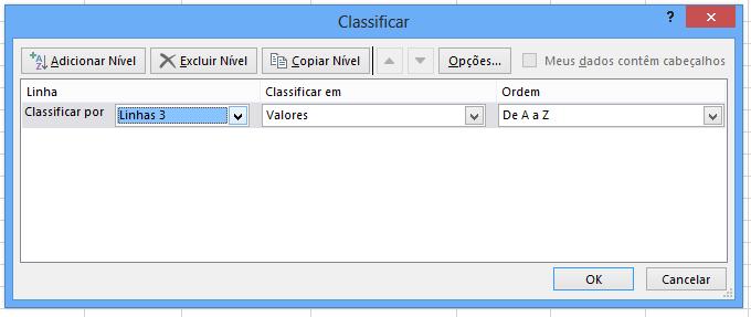 Linhas para Classificar linhas na horizontal