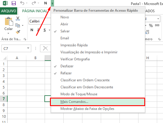 Mais comandos na Barra de Acesso Rápido no Excel