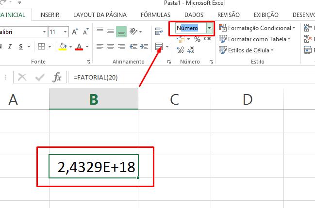 Número para Função Fatorial no Excel