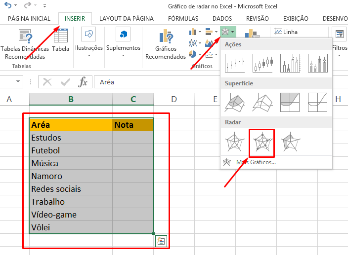 Novo gráfico de radar no Excel
