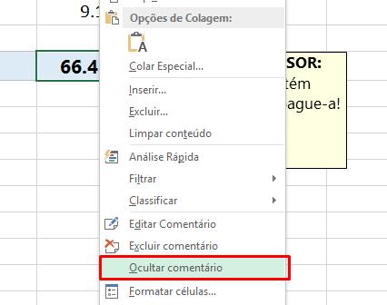 Ocultar comentário no Excel
