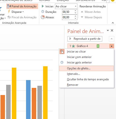 Opções de efeito para Gráfico do Excel no PowerPoint