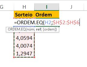 Ordem.eq para Sorteio sem repetição no Excel