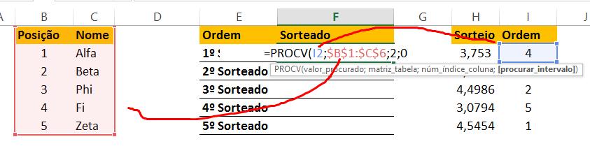 PROCV para Sorteio sem repetição no Excel