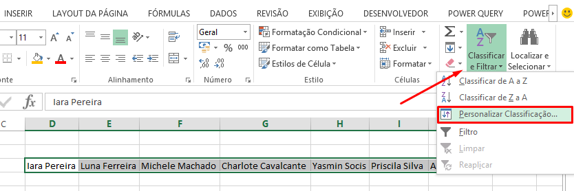 Personalizar e classificar para Classificar linhas na horizontal