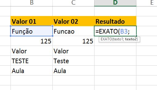 Primeiro argumento da Função exato no Excel