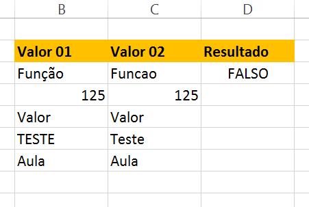 Primeiro resultado da Função exato no Excel