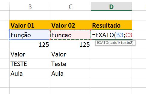 Segund argumento da Função exato no Excel