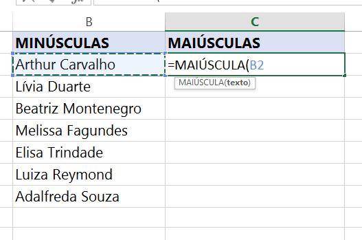 Selecionado células para transformar Letras minúsculas em maiúsculas no Excel