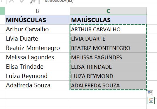 Selecionando para copiar e transformar Letras minúsculas em maiúsculas no Excel