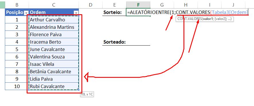cont.valores para Sorteio no Excel
