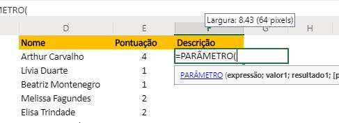 Abrindo a Função PARÂMETRO no Excel