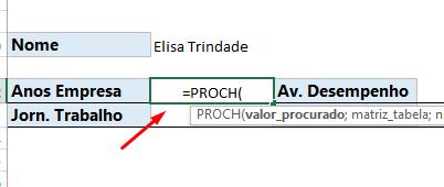 Abrindo a Função PROCH no Excel