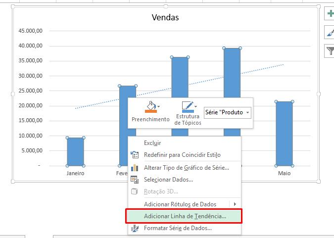 Adicionar linha de tendência no Excel