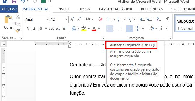 Atalhos do Microsoft Word