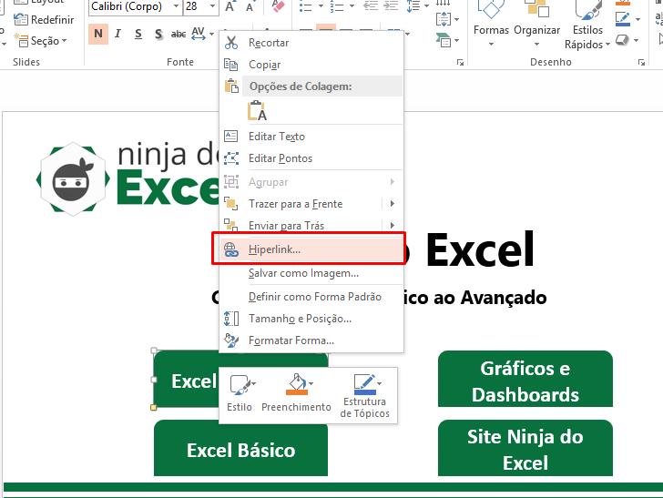 Excel completo de hiperlink no PowerPoint