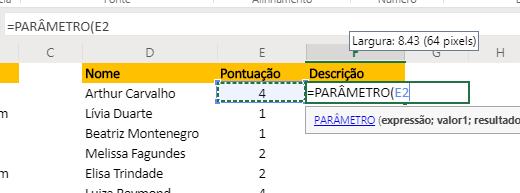 Expressão para Função PARÂMETRO no Excel
