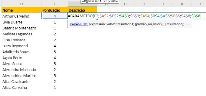 Fixação da Função PARÂMETRO no Excel