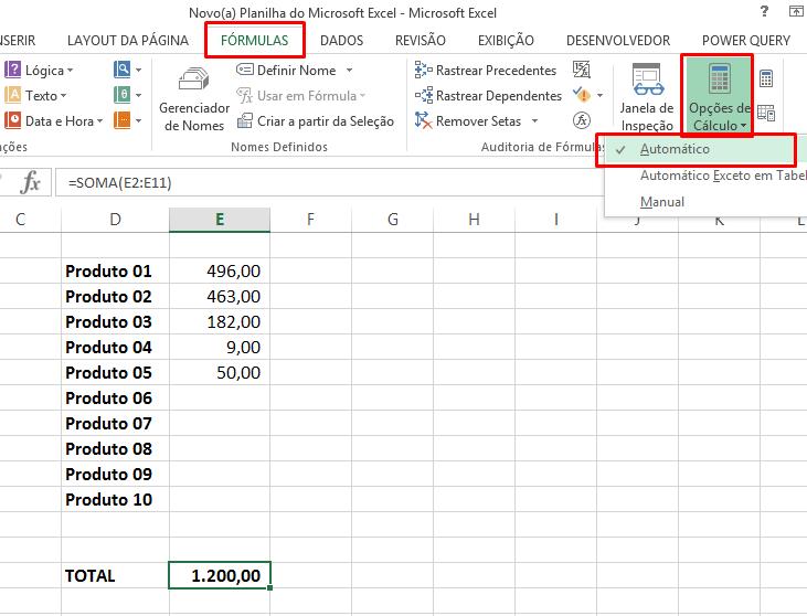Guia Fórmulas para cálculo não está automático no Excel