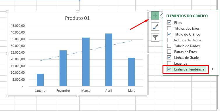 Inserindo linha de tendência no Excel