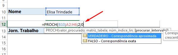 Intervalo da Função PROCH no Excel