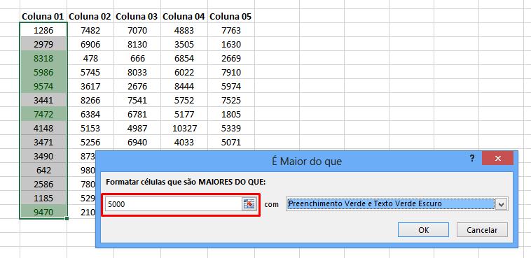 Maior que 5000 para Pincel de Formatação no Excel