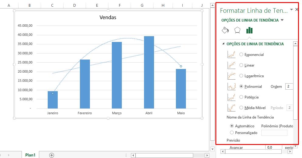 Menu de linha de tendência no Excel